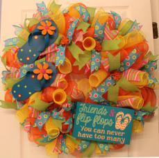 Diy Summer Mesh Flip Flop Wreath Tutorial