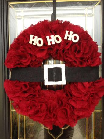 Door Decoration Burlap Santa Wreath Home Decor