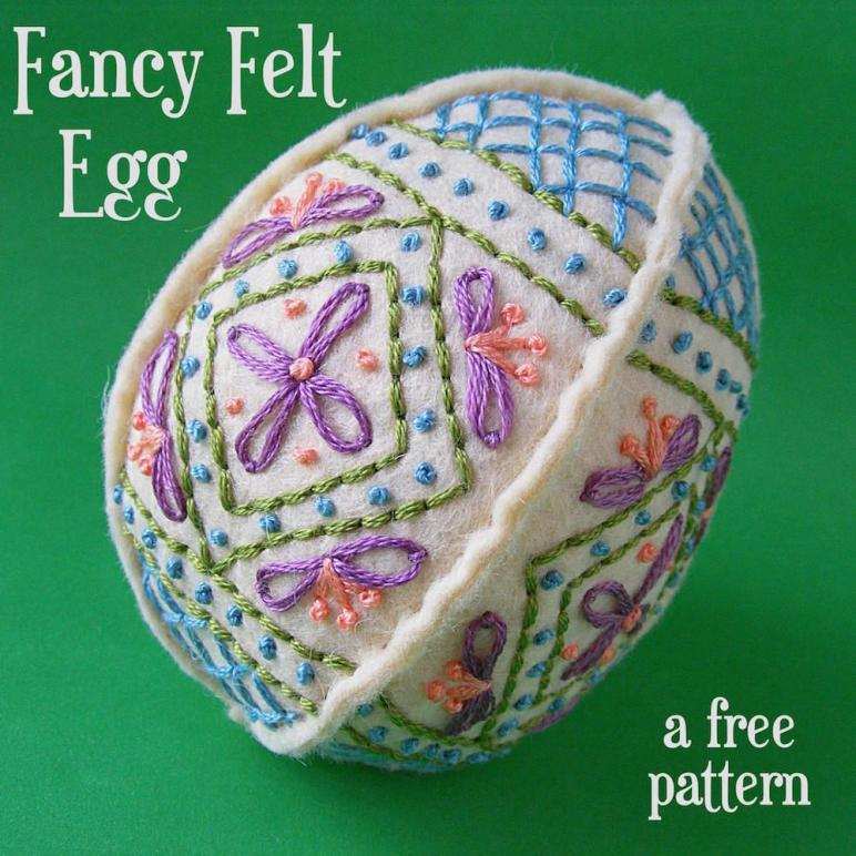 Easter Craft Ideas Embroidered Felt Egg Pattern