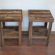 Eco Friendly Barnwood Wood End Table Night Stand Pair