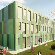 Exterior Render Modern School Green Archicgi