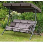 Exterior Wicker Person Upholstered Patio Swing