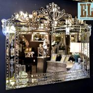 Fabulous Large Venetian Wall Mirror Crested Top