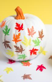 Fall Leaf Pumpkin Decorating Idea