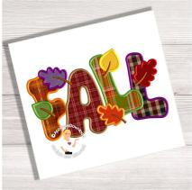 Fall Leaves Word Art Applique Design Instant Email