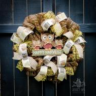 Fall Wreath Owl Front Lambandlaurel