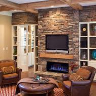 Family Living Room Stone Fireplace Ideas Homesfeed