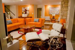 Fascinating Orange Living Room Decor Antique White