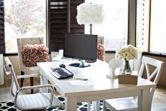 Feminine Office Decor White Trays Blinds Dark Varnished