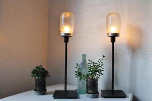 Frosted Mason Jar Table Desk Lamps Upcycled Lighting