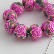 Fuchsia Rose Beads Handmade Polymer Clay