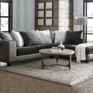 Furniture Grey Sectional Sofa Brown Wooden Floor