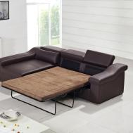 Furniture Large Shaped Brown Leather Sofa Pull Out