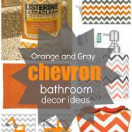 Get Look Orange Gray Chevron Bathroom Decor Ideas