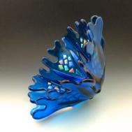 Glass Sea Petals Bowl Turquoise Blue Fused Livingontheetch