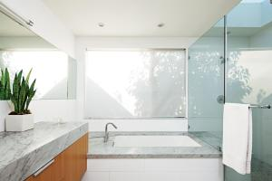 Glossy Glass Material Minimalist Bathroom Small