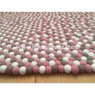Gray Pink White Felt Ball Rug Rugs