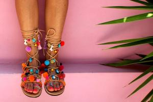Greek Sandals Tie Gladiator Pom