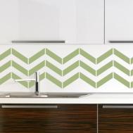 Green Geometric Pattern Kitchen Backsplash