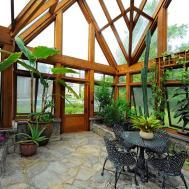 Greenhouse Pavilion Koi Pond Stone Driveway