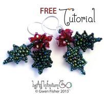 Gwenbeads Tutorial Holly Leaf Berry Earrings
