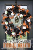 Halloween Craft Diy Geo Mesh Eyeball Wreath