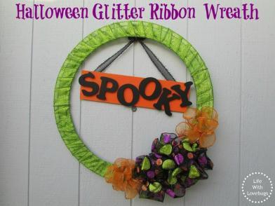 Halloween Glitter Ribbon Wreath Life Lovebugs