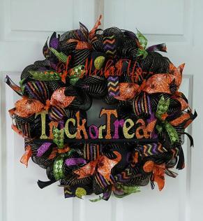 Halloween Wreath Deco Mesh Trick Treat