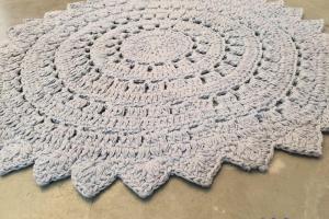 Hand Crocheted Nursery Rug Handmade Crochet Lace Doily