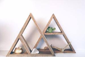 Hand Stained Triangle Wood Shelf Home Decor Storage Oak