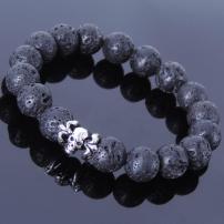 Handmade Men Women Bracelet Lava Rock 925 Sterling Silver