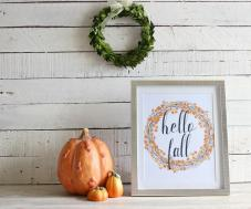 Hello Fall Sign Rustic Decor Farmhouse