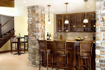 Home Basement Bar Design Idea Wooden Table