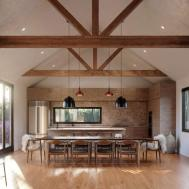 Homes Exposed Wood Beams Rustic Modern Art