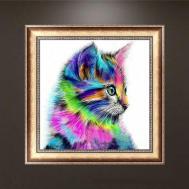 Honana 679 Diy Cross Stitch Colorful Cat