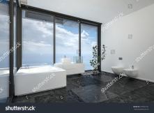 Hotel Penthouse Bathroom Minimalist Interior Design Stock