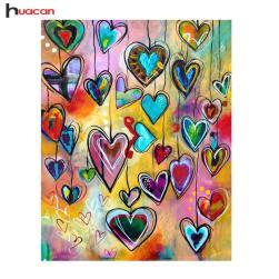 Huacan Diy Diamond Painting Geometric Love Heart