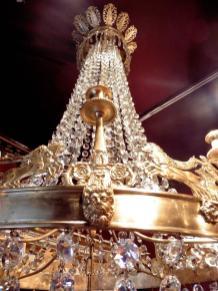 Imposing Ormolu Crystal Tent Form Chandelier Circa