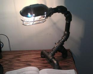 Industrial Black Metal Pipe Desk Lamp Pdl