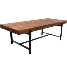 Industrial Iron Acacia Wood Large Rustic Dining Table