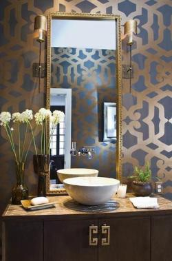 Interior Design Modern Contemporary Gold Accent Powder