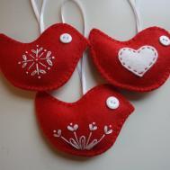 Items Similar Red Felt Bird Christmas Ornaments Set