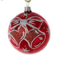 Jingle Bells Glass Christmas Ball Ornament Red