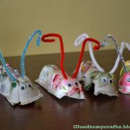 Jump Into Spring Egg Carton Caterpillar Glued Crafts