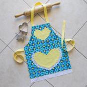 Kids Apron Blue Yellow Girls Kitchen Craft Art Play