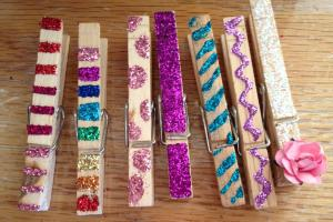 Kids Party Craft Glittered Clothespin Magnets Events