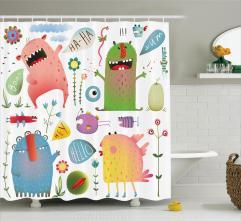 Kids Shower Curtain Imaginary Creatures Fun Bathroom Decor