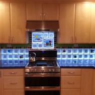 Kitchen Backsplash Art Glass Tile Blocks Light
