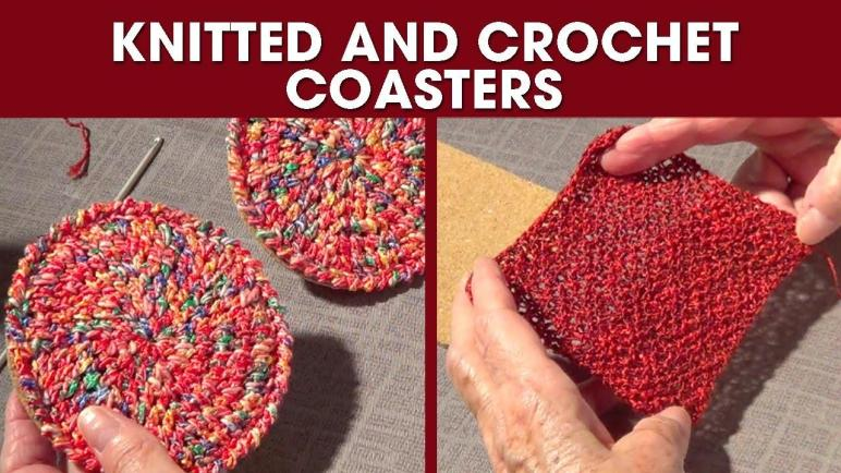 Knitted Crochet Coasters Diy Gift Round