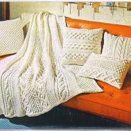 Knitting Pattern Aran Afghan Pillows 017